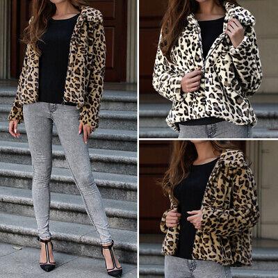 Damen Langarm Jacke Wintermantel Kurz Fluffy Warm Leopard Fleecejacke Parka Coat