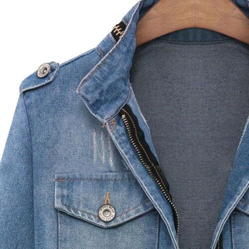 Le donne Plus Casual Denim Jeans Slim giacca tasca Cappotto Parka soprabito