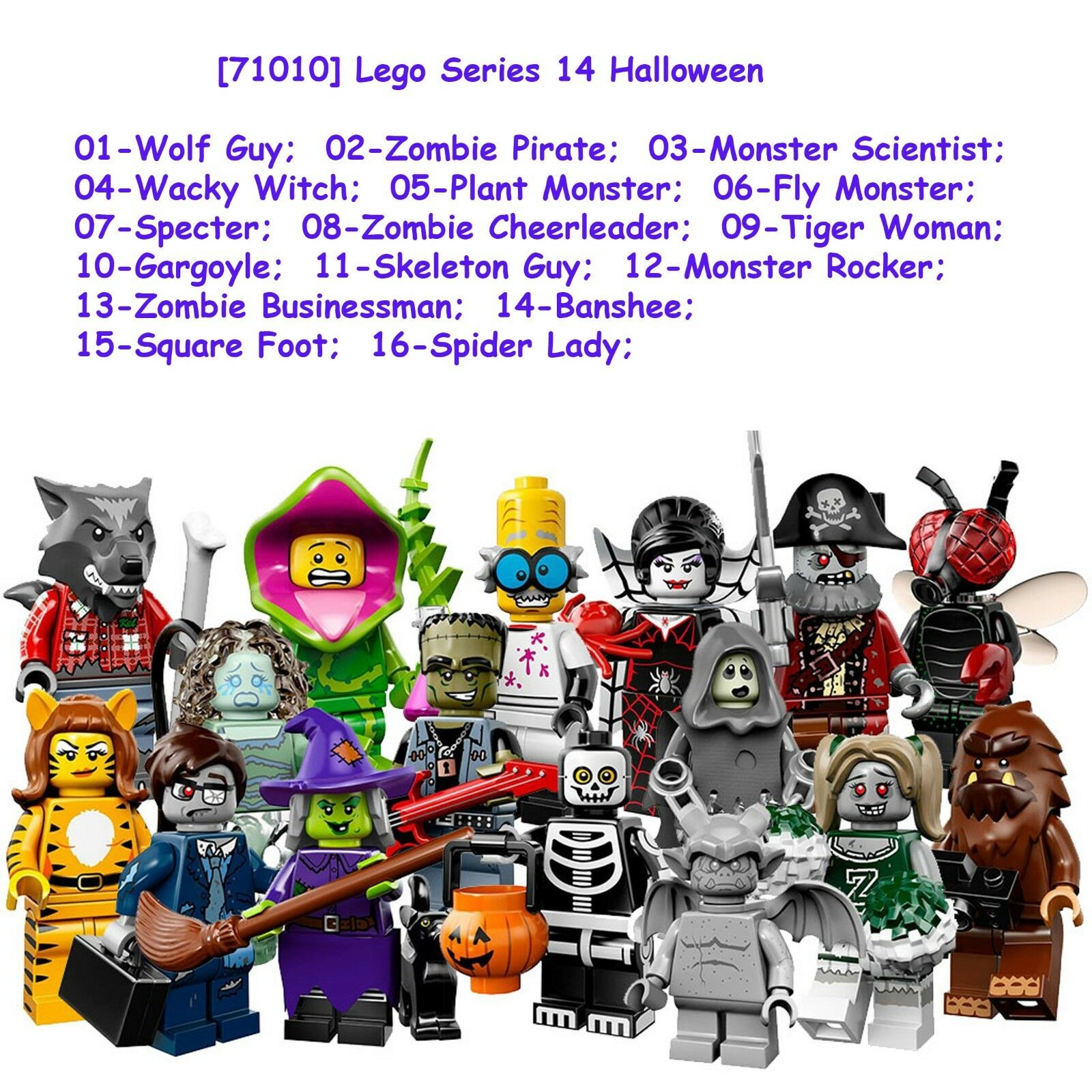 Lego Minifigures - all 16 Complete Set series 14 Halloween NEW Collectible 71010