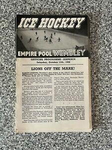 Wembley Empire Pool - Wembley Lions - Ice Hockey Programme 13/10/1956
