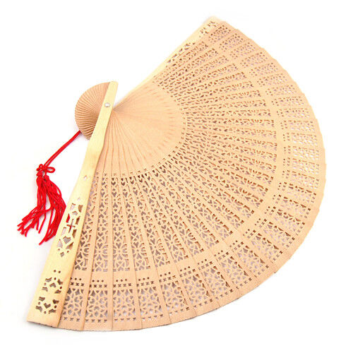 Ladies Fragrant Sandalwood Hand Fan Wooden Scented for Wedding Party Gift Boxed