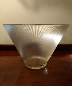Machine-Age-Ribbed-Glass-Cone-Bowl-Large-Heavy-Dramatic-Vtg-Brutalist-Industrial