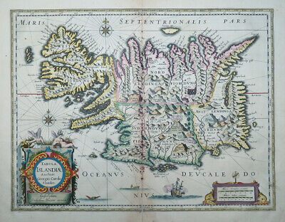Tabula Islandiae Island Iceland Blaeu Altkoloriert Atlantik Insel Grotesken 1635 üBerlegene Leistung