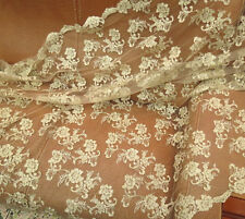 """Vintage 47"""" Wide Gold Corded Bridal Lace Fabric Embroidery Lace Fabric 0.5 Yard"""