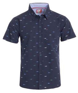 fce4753358b New Mens ID Extra Slim Fit Short Sleeve Button Up Navy Shirt Green ...