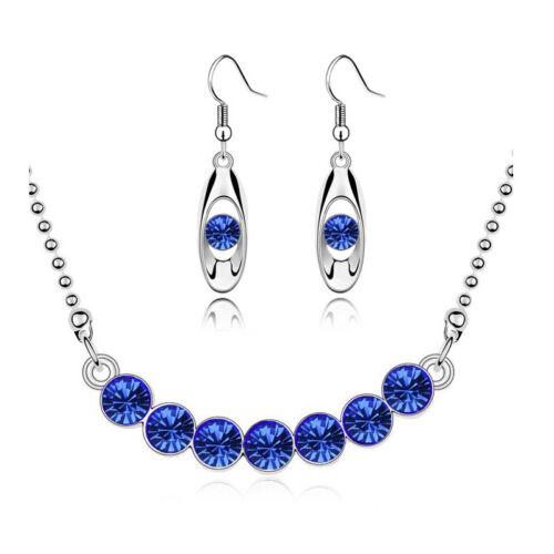 Royal Bleu et Argent Cristal Mariée Set Bijoux Boucles D/'Oreilles /& Collier S561