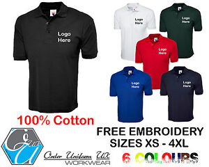 6298f57b6 Image is loading Personalised-Embroidered-Polo-Shirt-100-Cotton-Workwear -Uniform-