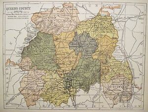 Irish Map QUEEN'S COUNTY LAOIS Ireland Portarlington Color PW Joyce 1905 9.5x7