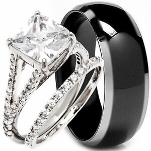 black wedding rings his and hers 3 pcs his hers black titanium and sterling silver wedding 1887