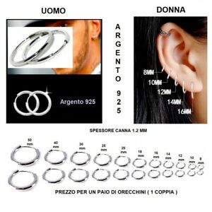 Orecchini-Cerchietto-Cerchio-in-Argento-925-Uomo-Donna-Misure-da-1-2x-8-A-50-mm