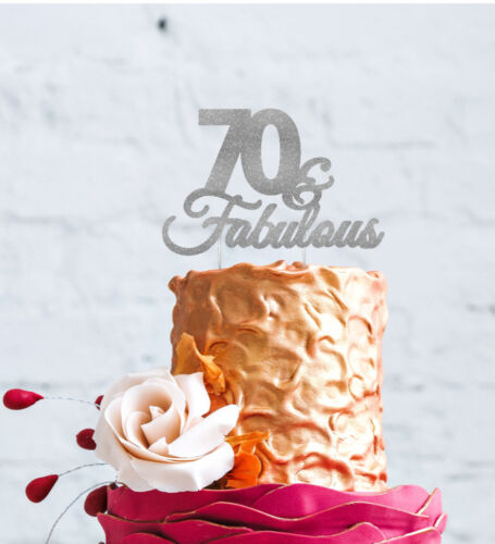 70 /& Fabulous Cake Topper 70th Birthday Cake Topper Glittery Silver