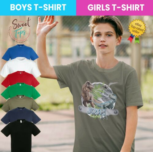 PERSONALISED T-REX DINOSAURS INSPIRED T SHIRT BOYS GIRLS CHILRENS KIDS