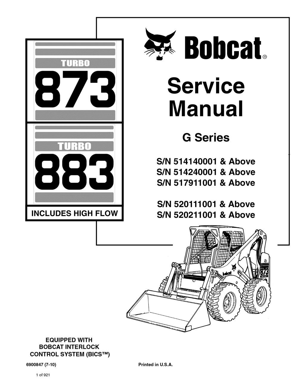 Bobcat 873 G-series Turbo Skid Steer Loader Service Manual 920 Pgs 6900847  | eBay