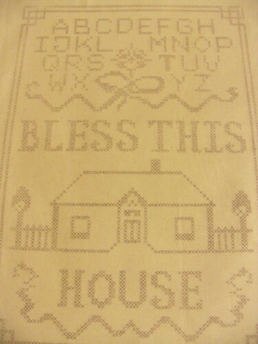 BLESS THIS HOUSE* PRINTED STAMPED TRACED  CROSS STITCH SAMPLER *100/% COTTON*