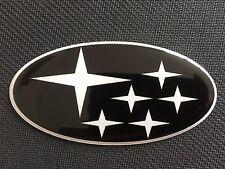 SUBARU BONNET BADGE STICKER BLACK & WHITE STARS DOMED PLASTIC NEWAGE 2001-07