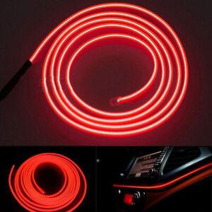 2M-Rojo-LED-Coche-Decoracion-Interior-Tira-de-Luz-Lampara-De-Alambre-atmosfera-Accesorios-Coche-Y