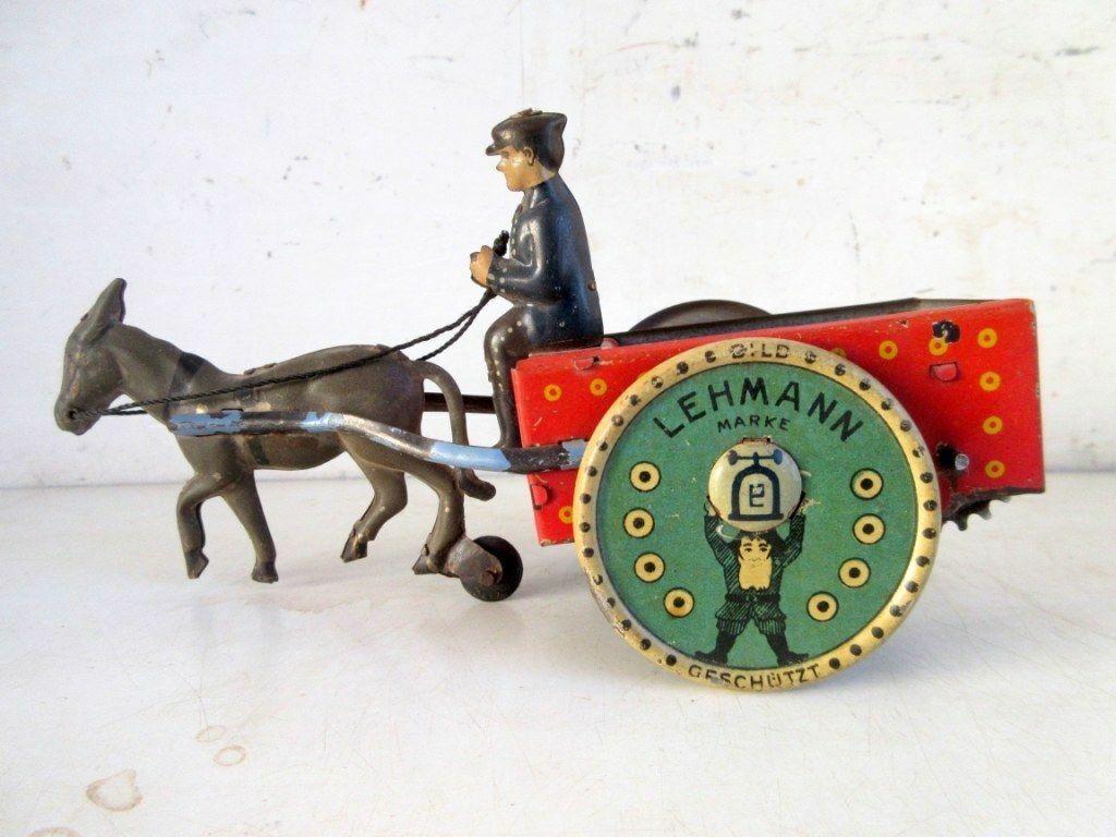 Vintage Wind Up Toy Lehmann Mark Man With Donkey Cart Litho Tin Toy Germany