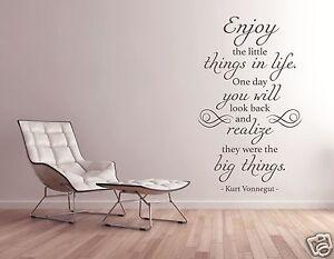 Das Bild Wird Geladen Wandtattoo Wohnzimmer Zitat Englisch  Die Kleinen Dinge Enjoy