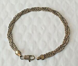 Vintage-Solid-Sterling-Silver-Flat-Mesh-7-5-in-034-BRACELET-925-Wove-Weave-woven