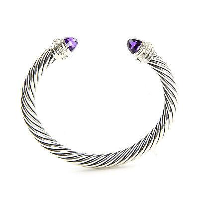 DAVID YURMAN Cable Classics Bracelet with Diamonds & Amethyst 7mm $1,800 NEW