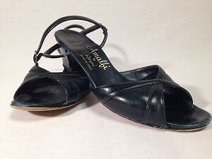 Amalfi-by-Ragoni-Open-Toe-Sling-back-Navy-Blue-Size-5-5-N-Made-in-Italy