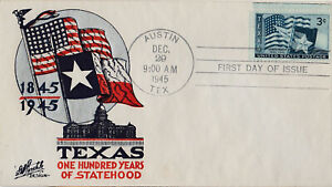 S21-2035-FDC-1945-Texas-100-Years-A-State-Staehle-Cachet-3-Cent-Texas-Stamp