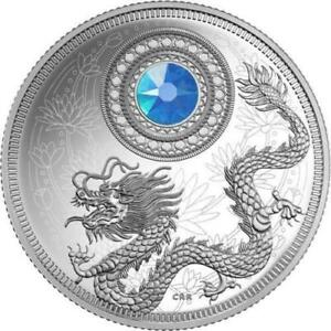 Canada-2016-039-March-Birthstones-039-Crystalized-Proof-5-Silver-Coin-w-BOX-amp-COA