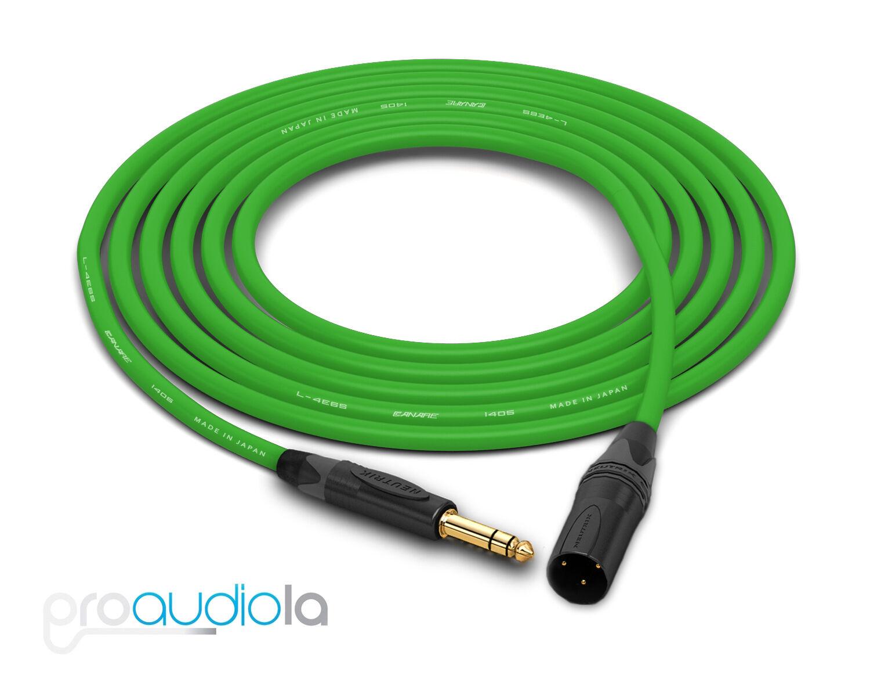 Canare Quad L-4E6S Cable   Neutrik Gold TRS XLR-M   Grün 200 Feet   200 Ft 200'