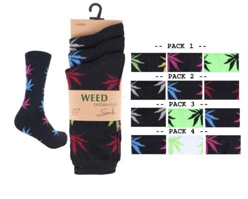 Mens Designer Plant Life Weed  Leaf Cotton Rich Socks Adults Size 6-11 lot