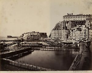 Napoli-Castel-Dell-039-Ovo-Port-Italia-Foto-Amodio-Vintage-Albumina-Ca-1875
