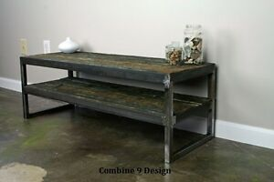 Image Is Loading VintageIndustrialTVStandReclaimedWoodSteelRustic Rustic Industrial Tv Stand7