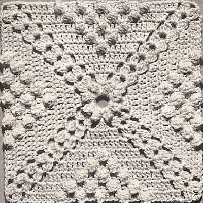 Vintage Crochet PATTERN to make Popcorn /& Cluster Design Motif Block Bedspread