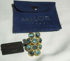 Milor NEW/Tag 14K Yellow Gold & 10 Swiss Blue Topaz Stones Ring sz 6 $800 Italy!