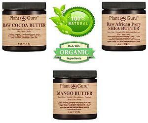 3 Pack Cocoa Butter, Unrefined Shea Butter, Mango Butter 100% Pure Raw Organic