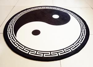 Taoist-carpet-yoga-rug-door-mat-yin-and-yang-meditation-bagua-Taiji-black-0-9m