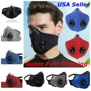 Face Mask Reusable Covering 2 Exhalation Valves with Activated Carbon Filter USA