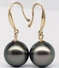 2017 sell beautiful 10-11 MM AAA+++TAHITIAN BLACK PEARL EARRING 14K YG MARKED