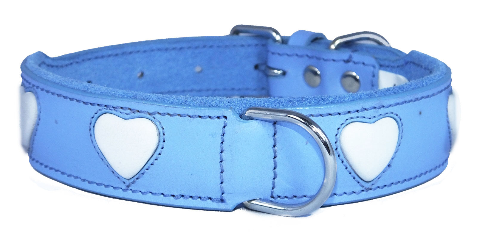 bluee Leather Dog Collar White Heart Staffy Staffordshire Bull Terrier Collar