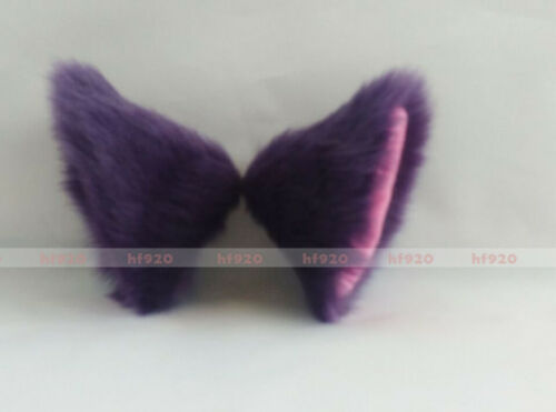 Anime Cosplay Costume Party Long fur Neko Kitty cat ears cat tail Purple 10cm