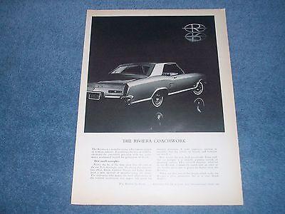 1963 Buick Riviera Coachwork L4 Car Classic Advertisement Print Ad