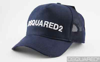 """DSQUARED2 Unisex Wollmütze Farbe DUNKELBLAU /""""Made in Italy/"""" One Size D2 Patch"""