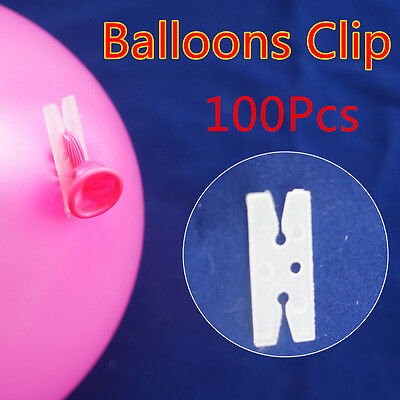 100 x Balloons H Clip Weeding Birthday Party Customes Bulk Helium Air Decoration