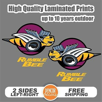 2 Rumble Bee Printed Laminated sticker Decal with words Rumble Bee