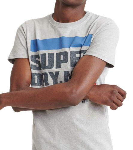 Superdry NYC Tab Crew Neck T-shirt Logo Crew Neck Cotton Tee Grey Marl