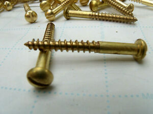 """Vintage # 12 X 2 1//2"""" Slotted Round Head Brass Plated Wood Screw NOS 25 Lot Of"""