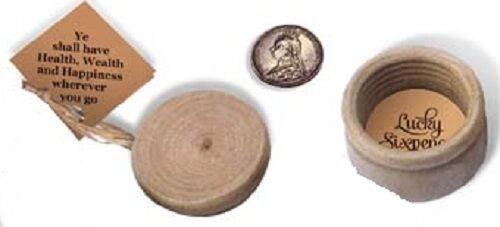 """Wooden Box with screw on lid with /""""Lucky Sixpence/"""" inside"""