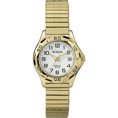 Timex Womens Acqua   Gold-Tone Expansion Band White Dial Date Dress Watch A3C749