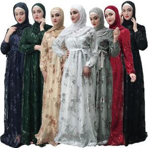 7b39cab2b5649 Muslim Women Long Maxi Dress Robe Abaya Lace Jilbab Kaftan Islamic ...