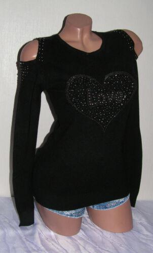 Donna Maglione a maglia maglione sweater TAGLIO LUNGO CAMICIA finemente lavorato a maglia spalla cuore libero