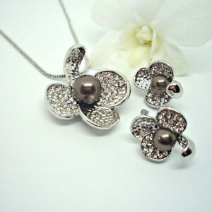 Clear-Crystal-Rhinestone-amp-Black-Pearl-Orchid-Necklace-amp-Earrings-Set